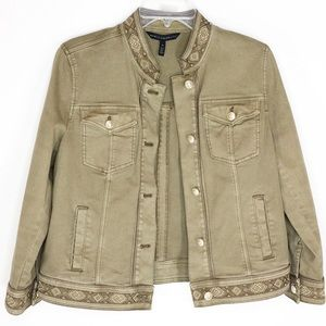 WHBM Embroidered Button Front Jacket